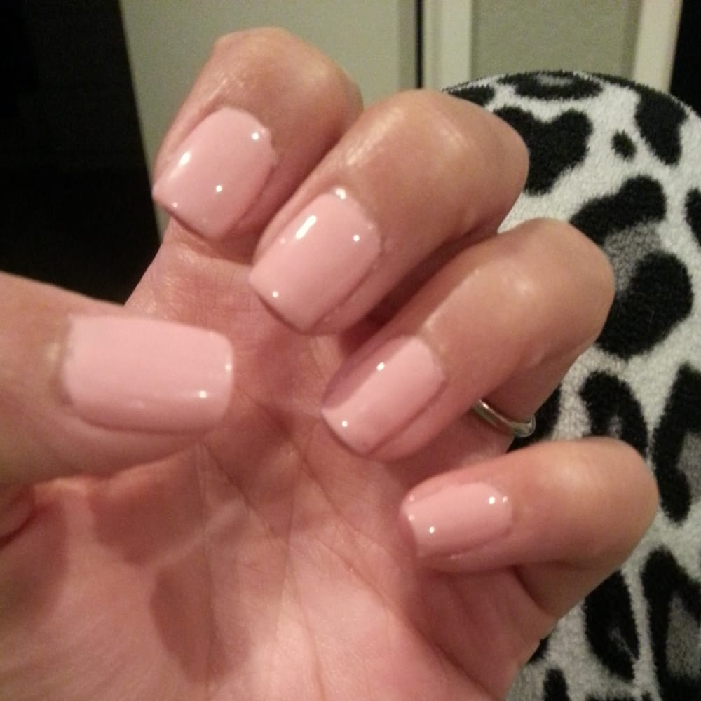 Regular mani. Pointer finger dent us my fault but notice the uneven ...
