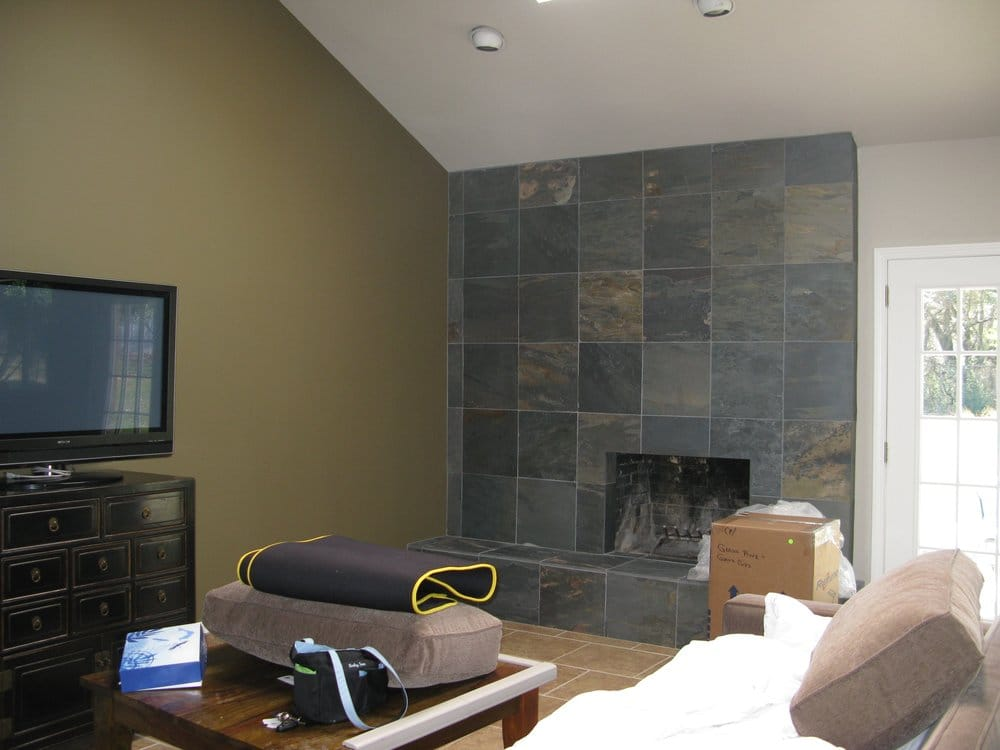 Living Room Slate Fireplace And Accent Wall Yelp