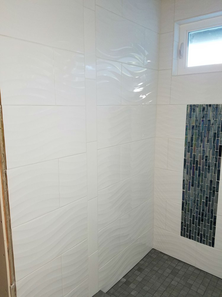 wavy bathroom tile shower wall bought the wavy white tile here and the flat 15029