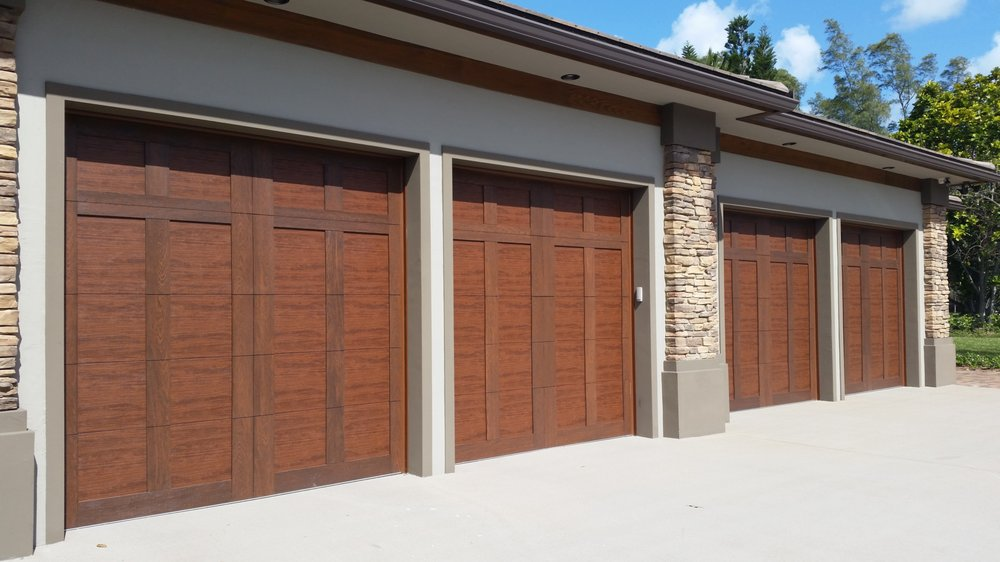 Carriage House Style Garage Door With Composite Overlay Wood
