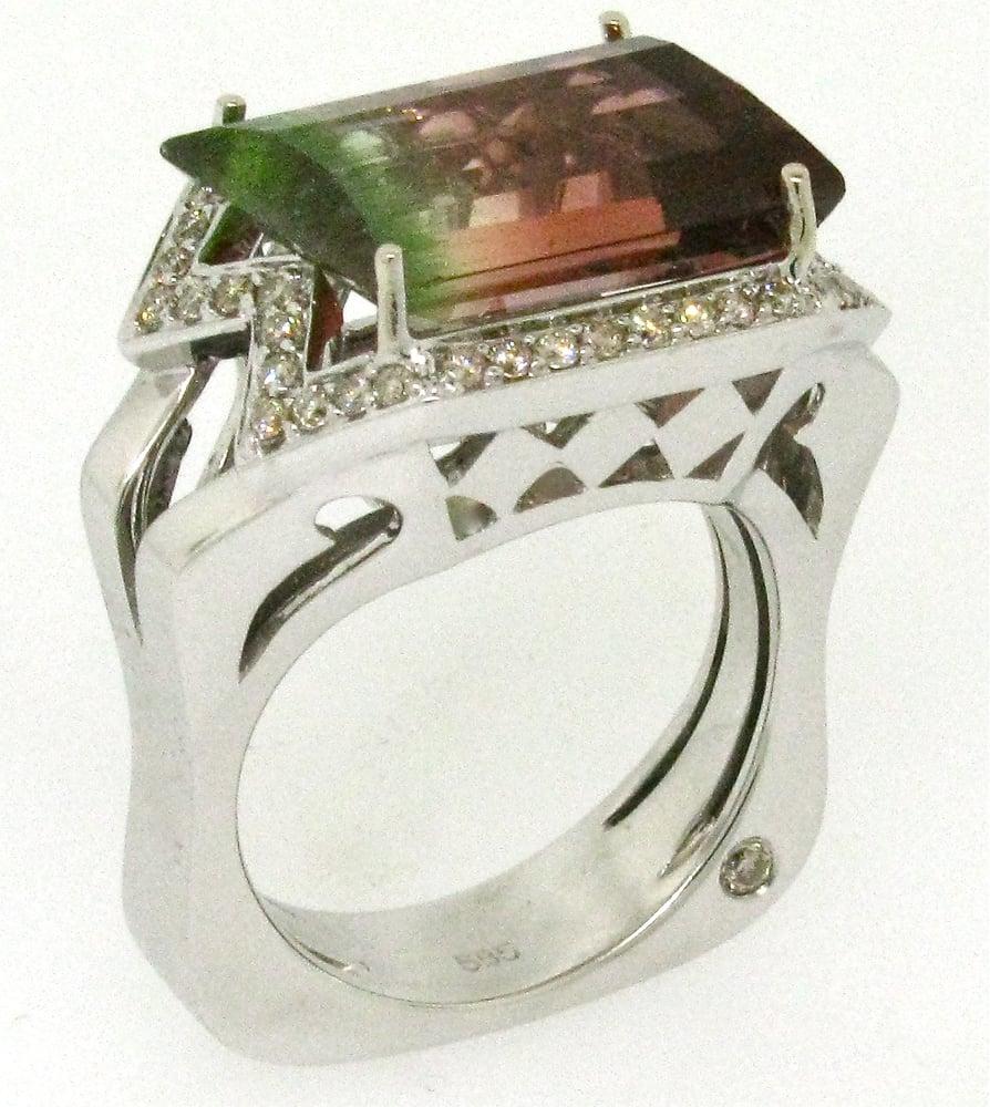 custom m lynn designer ring in 18kt white gold with aaa