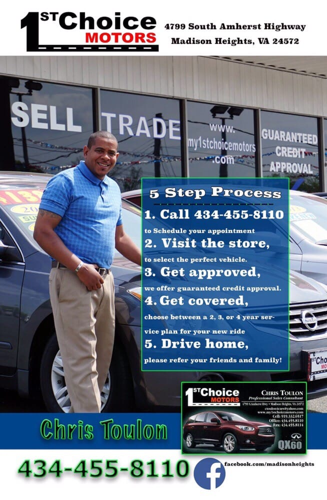 1st Choice Motors - Auto Loan Providers - 4799 S Amherst Hwy, Madison Heights, VA - Phone Number - Yelp