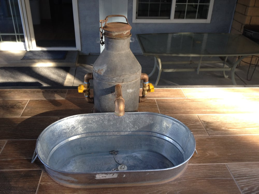 Outdoor kitchen custom made faucet with galvanized tub for Galvanized tub kitchen sink
