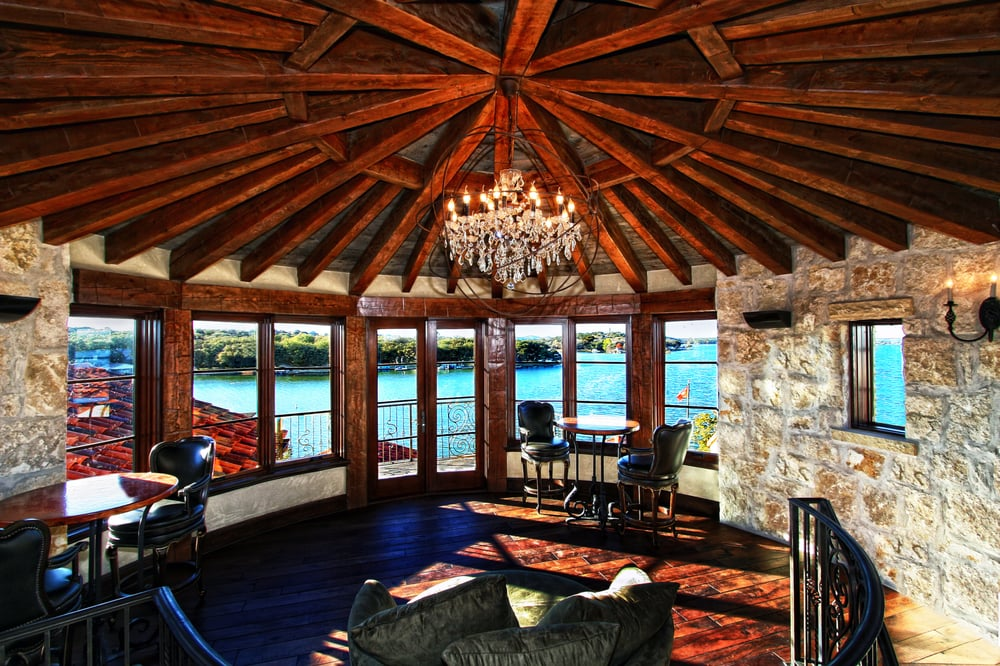 Horseshoe bay rotunda rustic spanish lake house by zbranek for Custom rustic homes