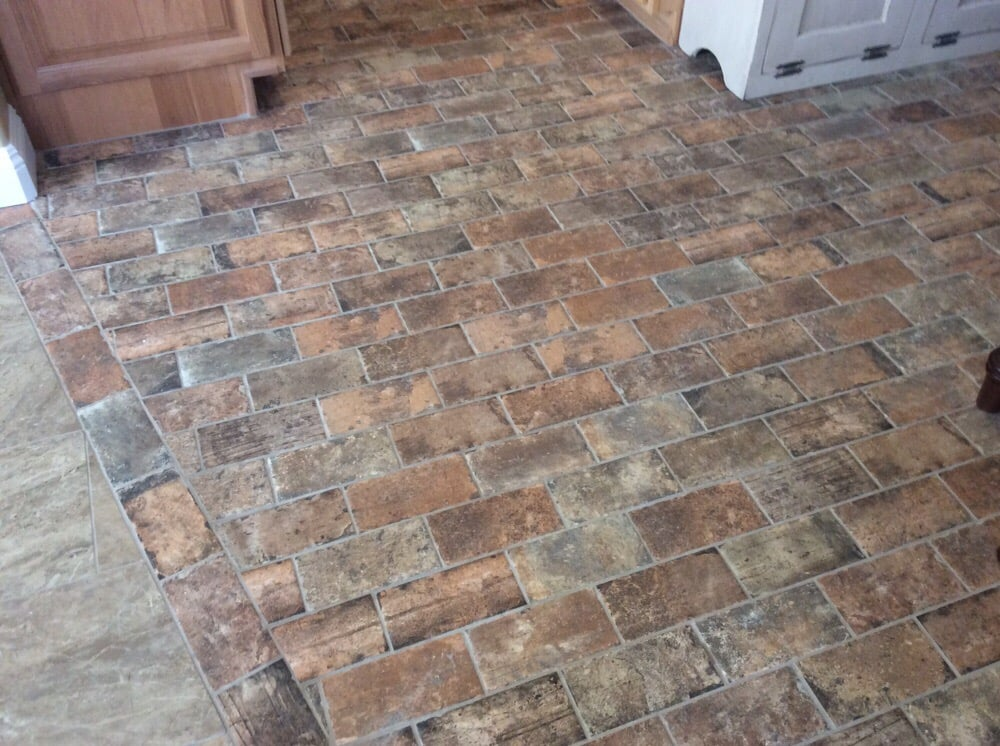 Farmhouse Brick Flooring Tile : Porcelain brick tiles in kitchen purchased from floor