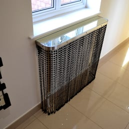 Photo of Modern Radiator Covers - Harlaxton, Lincolnshire, United Kingdom.  Crystal and Mirror