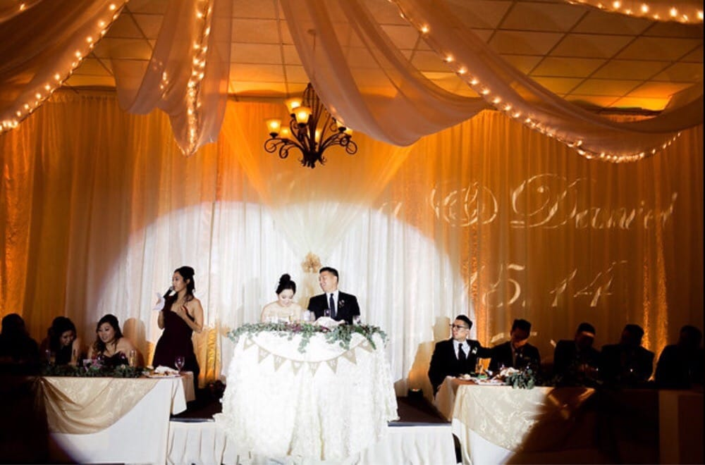 The bridal party setup during matron of honor speech - Yelp