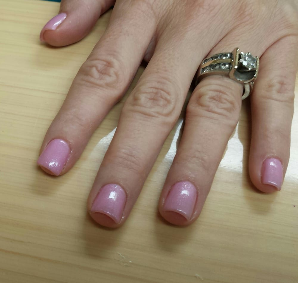 Short square acrylic nails with lilac polish - Yelp