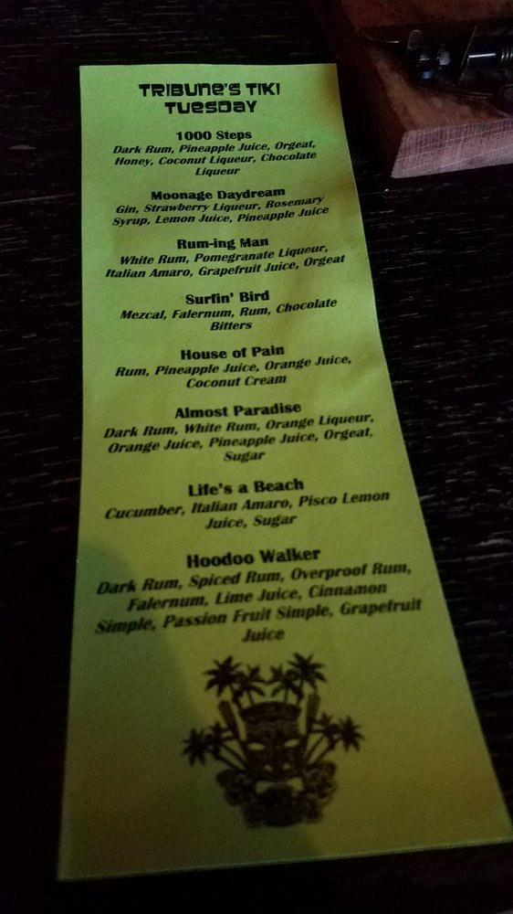 Tiki Tuesday menu - Yelp