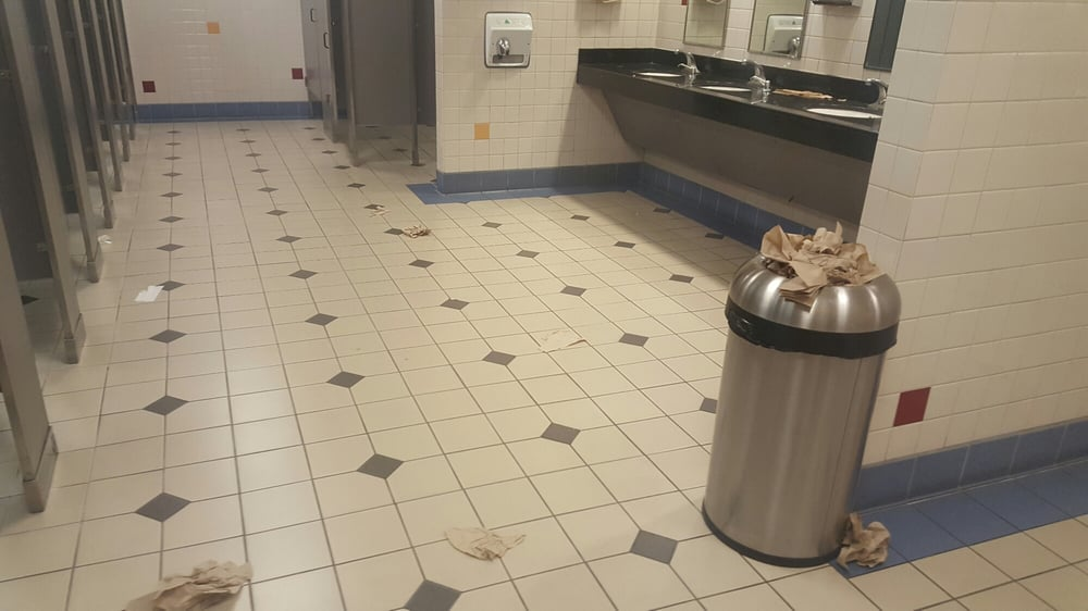 No Garbage On Floor : No soap in the dispensers paper towels sinks as