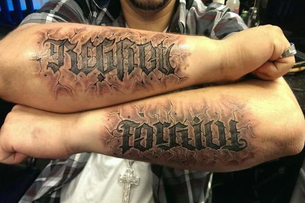 Custom ambigram stone tattoo by omar yelp for Chicago ink tattoo