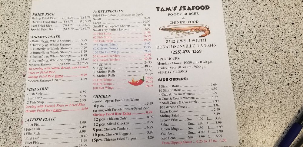 Tams Seafood: 3432 Hwy 1 S, Donaldsonville, LA
