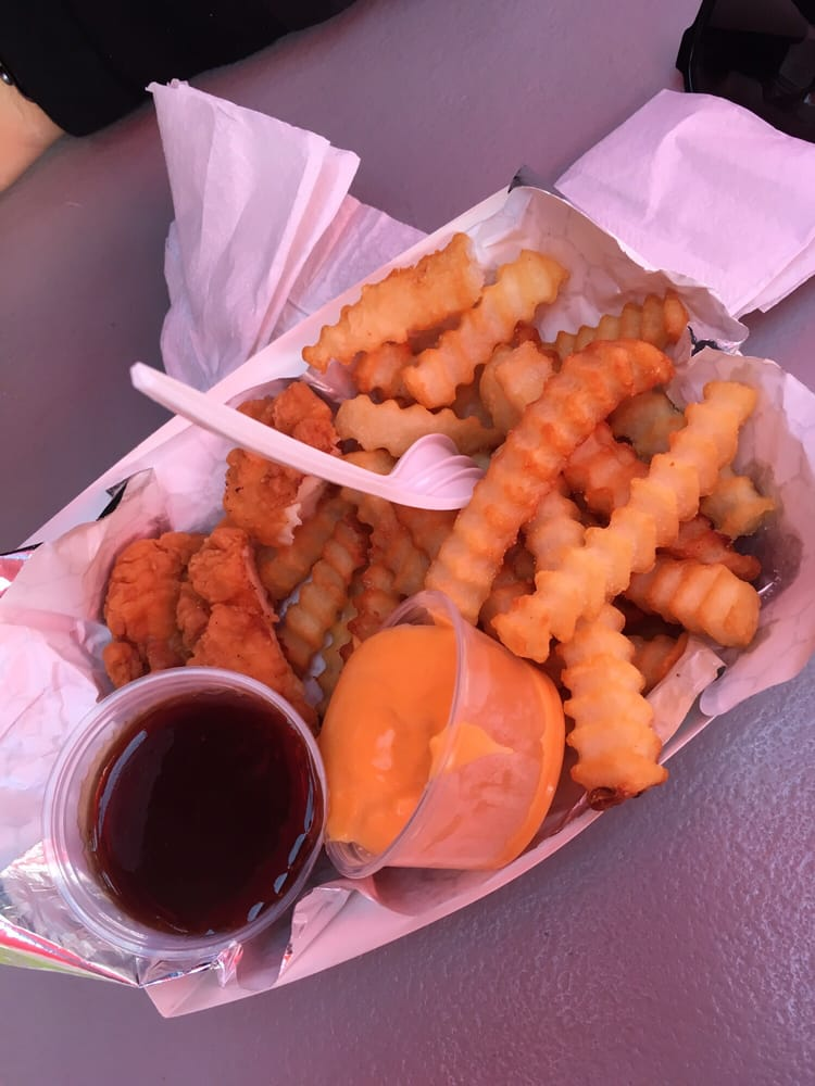 Chicken Fingers And Cheese Fries Real White Meat Chicken Yelp