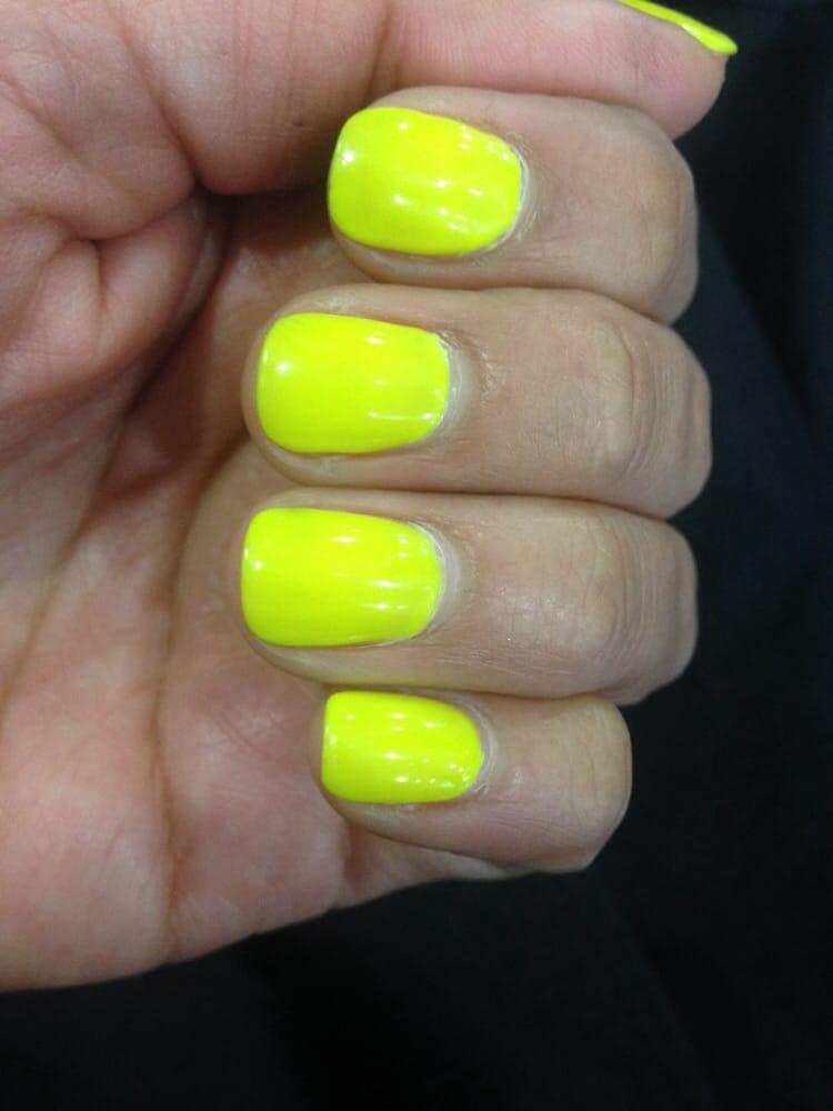 Neon yellow, shellac nails. - Yelp