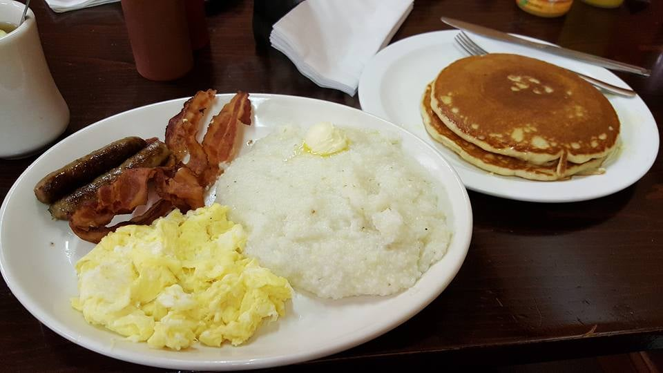 Shay's Special....grits, pancakes, scrambled eggs, bacon ...