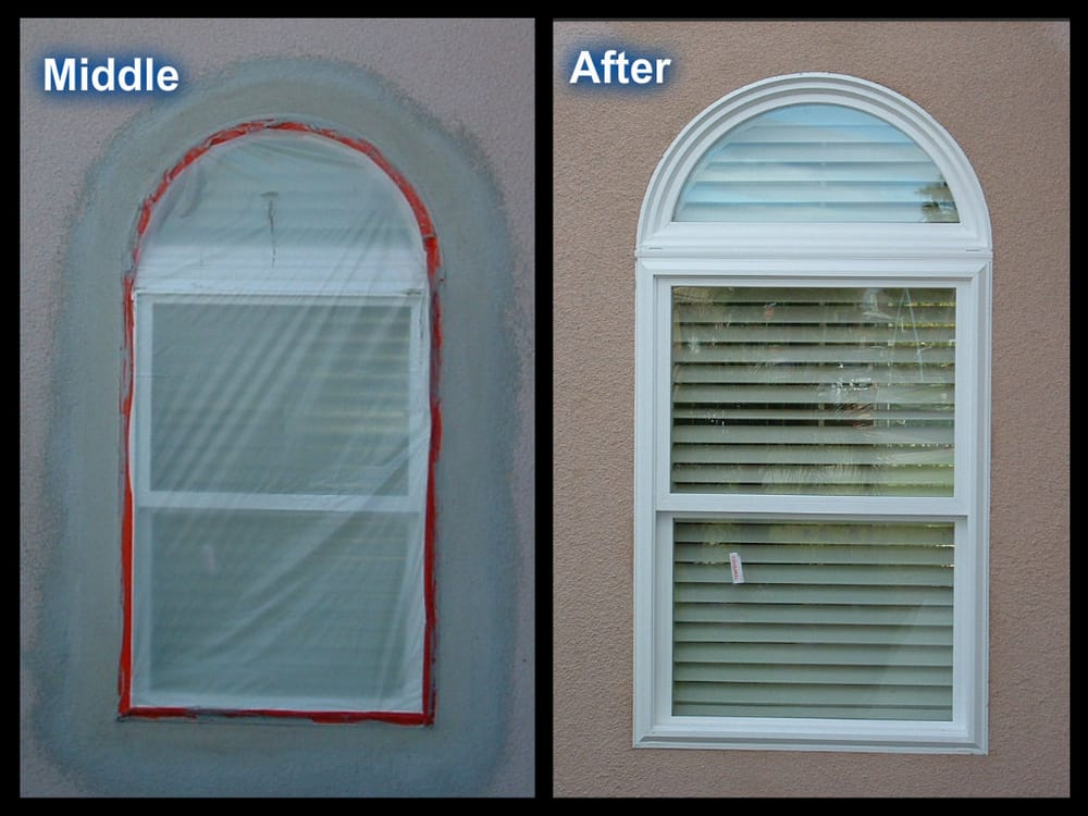 New arched window located on the side of house in progress - Houses with arched windows ...