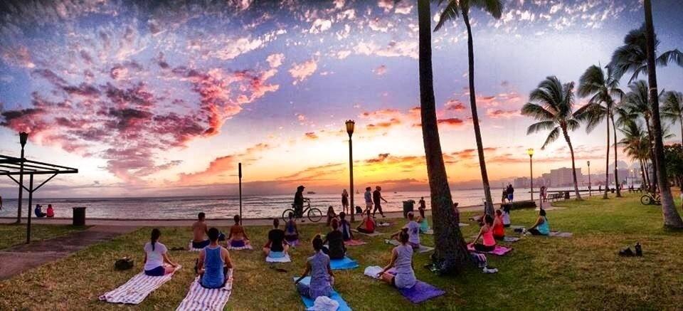 Photo Of Beach Sunset Yoga Hawaii Oahu Honolulu Hi United States