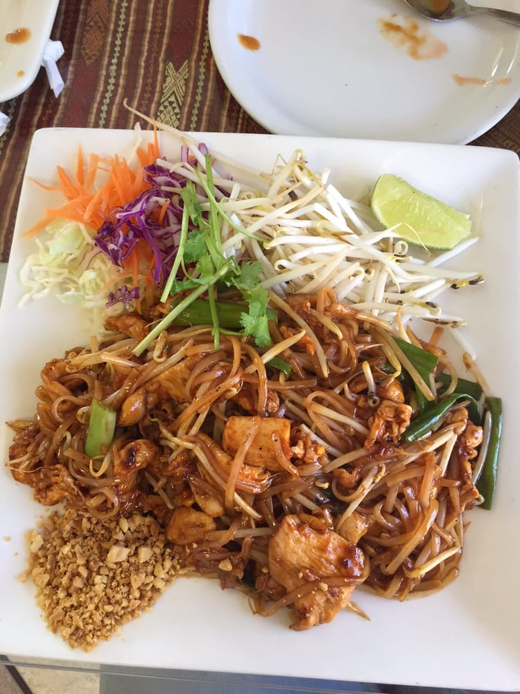 Chicken pad thai with a spice level of 2 so good loved for 8 spices thai cuisine