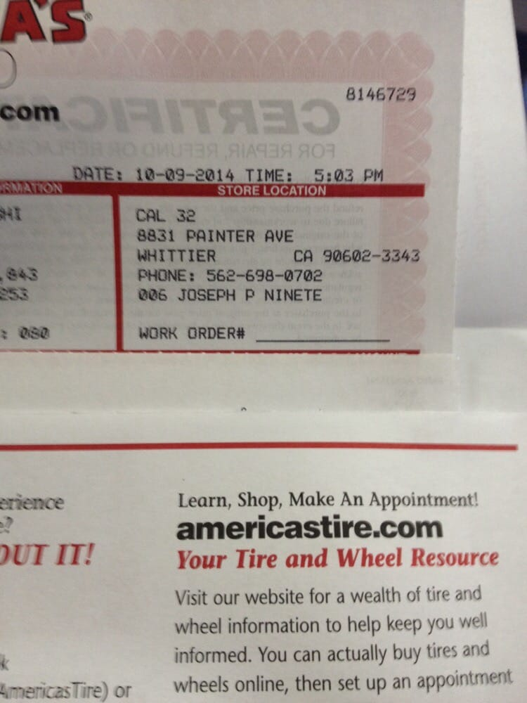 receipt for tire yelp