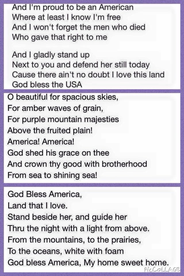 Patriotic songs lyrics, God is our source. And happy we are free ...
