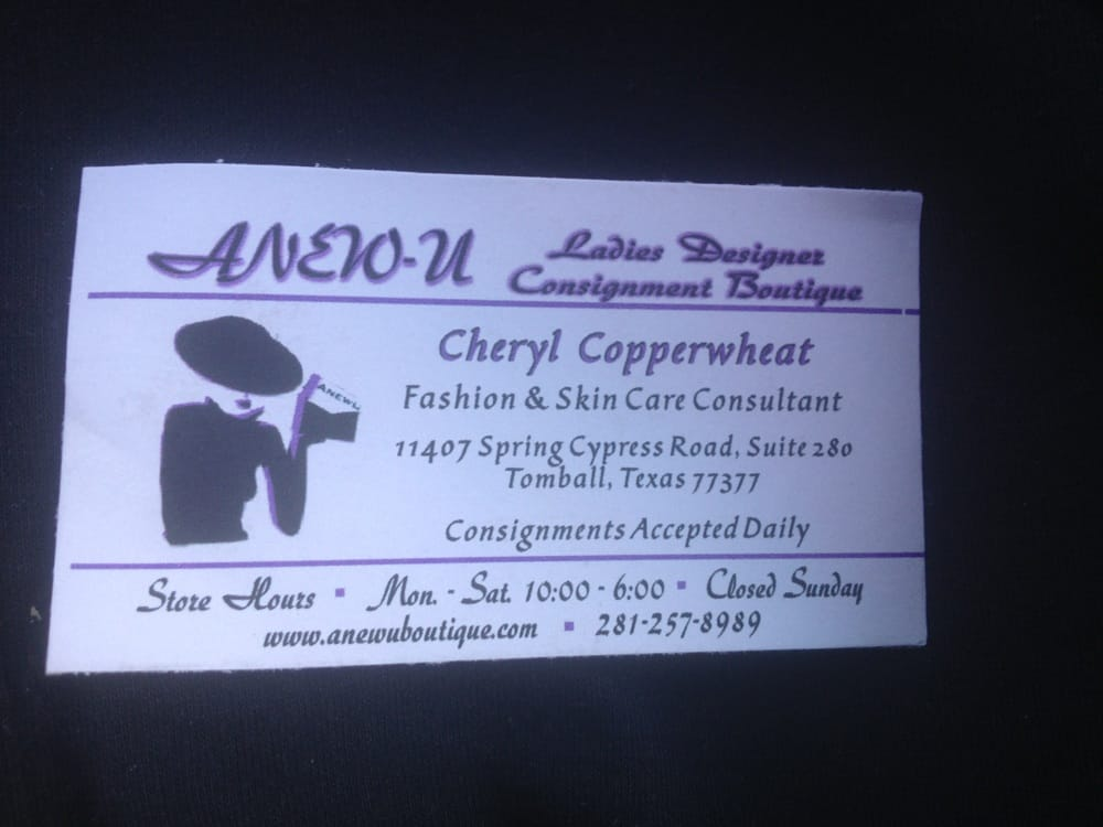 Business card yelp photo of anew u ladies resale boutique tomball tx united states reheart Gallery