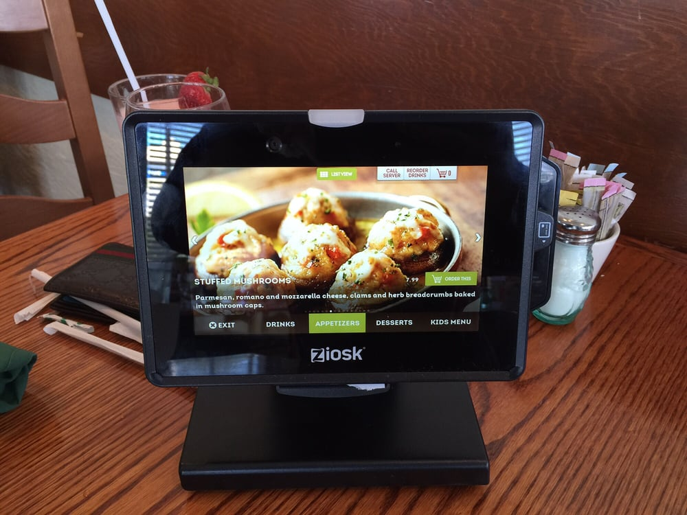 Interactive Kiosk On The Table To Order Appetizers Drinks Desserts - Restaurant table games