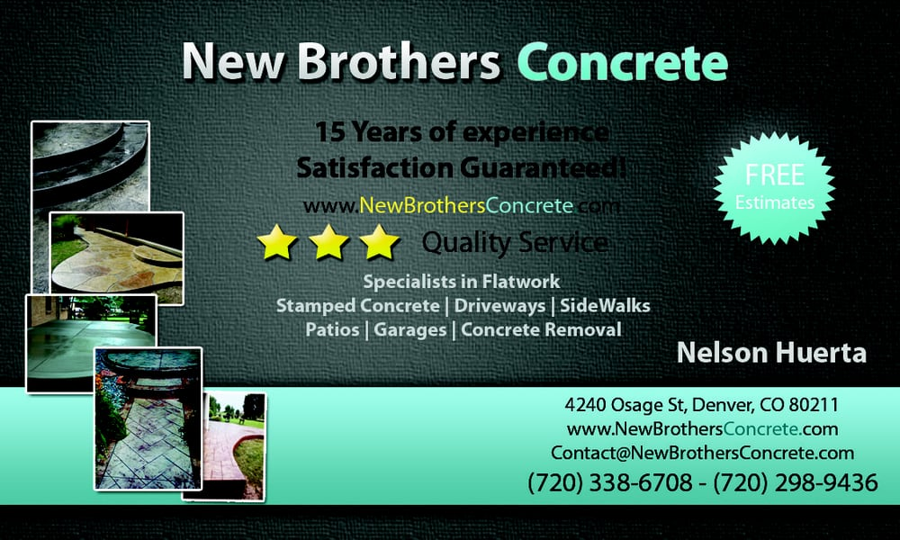 Photo of New Brothers Concrete - Denver, CO, United States. Concrete  Business Card