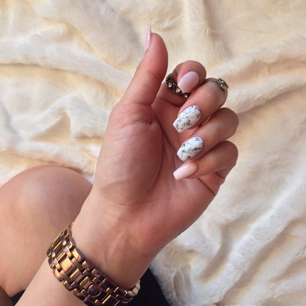 Marble effect, gel polish on acrylic nails. - Yelp