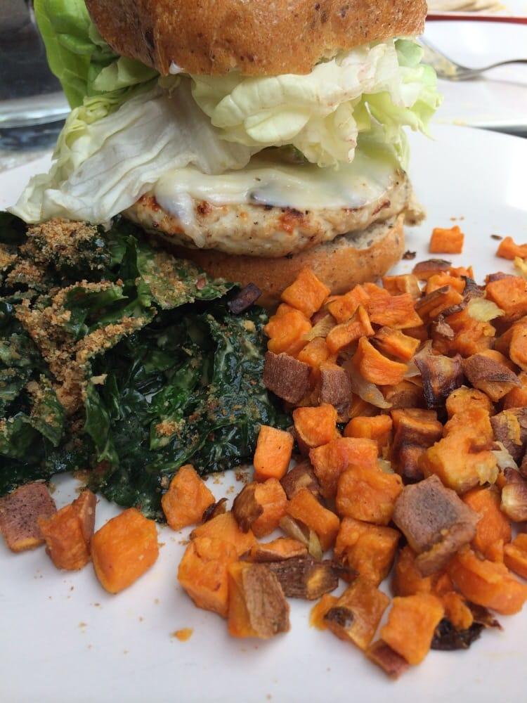Turkey Burger With Sweet Potatoes And Kale Salad Yelp