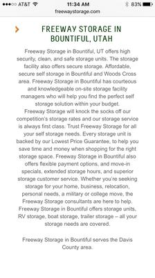 Freeway Storage 400 S 700th W Ste 390 West Bountiful, UT Warehouses Self  Storage   MapQuest