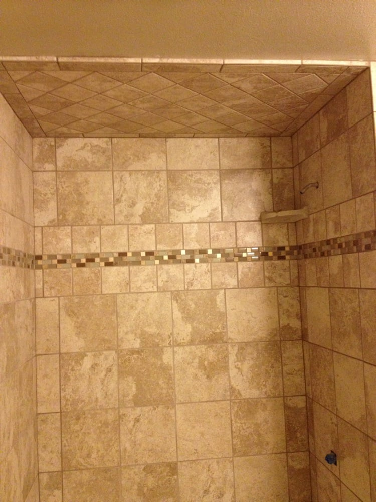 X Porcelain Shower Wx Porcelain And Glass Mosaic Feature - 6x6 tiles in shower