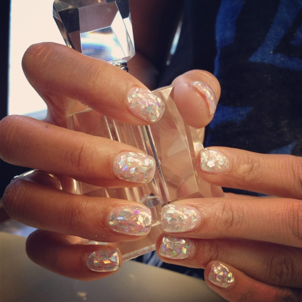 Silver glitter flakes yelp for A spot nail salon