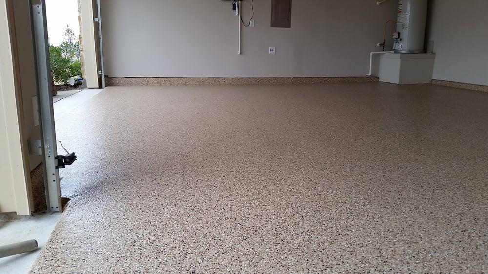 Full Flake Polyaspartic Garage Floor Coating System Color Copper