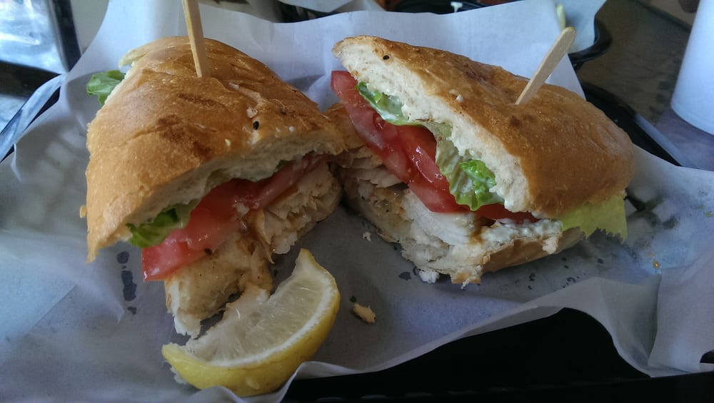 Wahoo fish sandwich with chipotle marinade yelp for Blue water fish market
