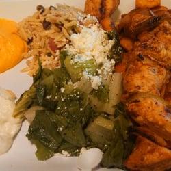 Mama Pita Mediterranean Grill - Plano, TX, United States. Chicken platter, orzo, salad, potatoes, carrot and garlic hummus