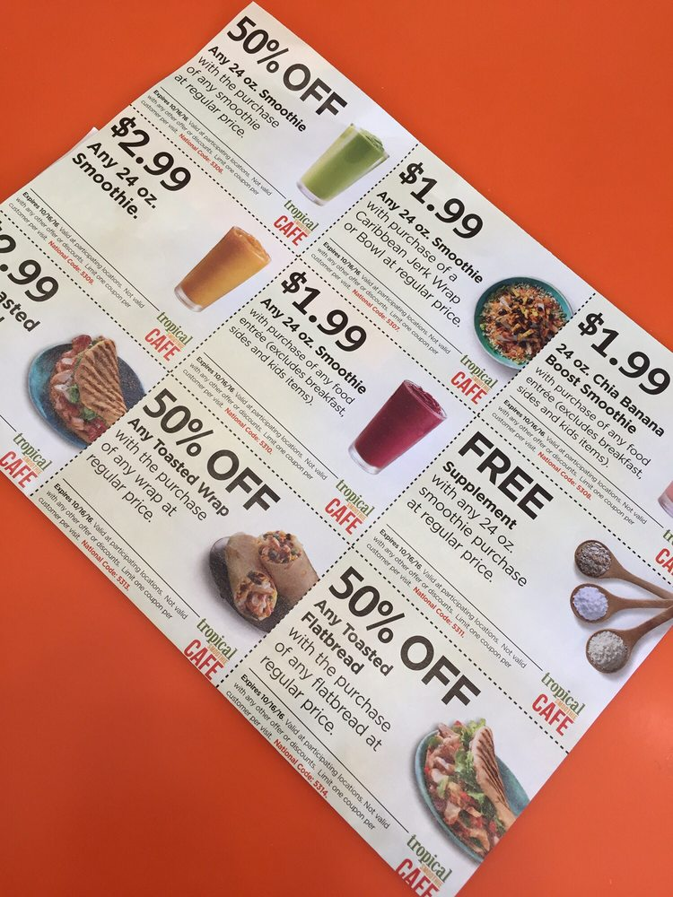 picture regarding Tropical Smoothie Coupons Printable named Tropical smoothie coupon codes florida - The vacation resort at the