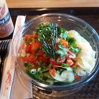 ... Large seafood bowl. Lots Salmon sashimi with spicy Korean sauce