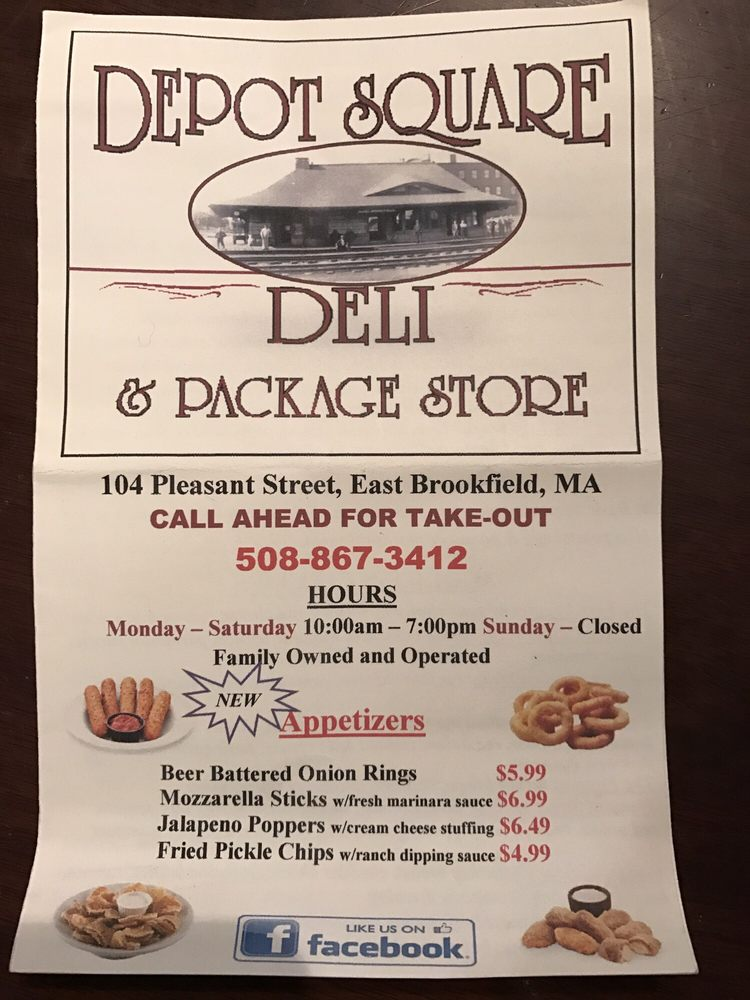 Depot Square Deli &Package Store: 104 Pleasant St, East Brookfield, MA