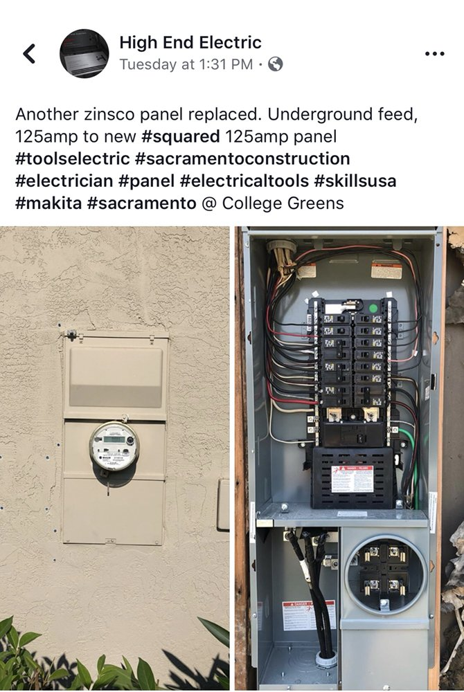 Replacement Of An Old 100 Amp Zinsco Panel To A New Square D Electrical Panel  In College Greens