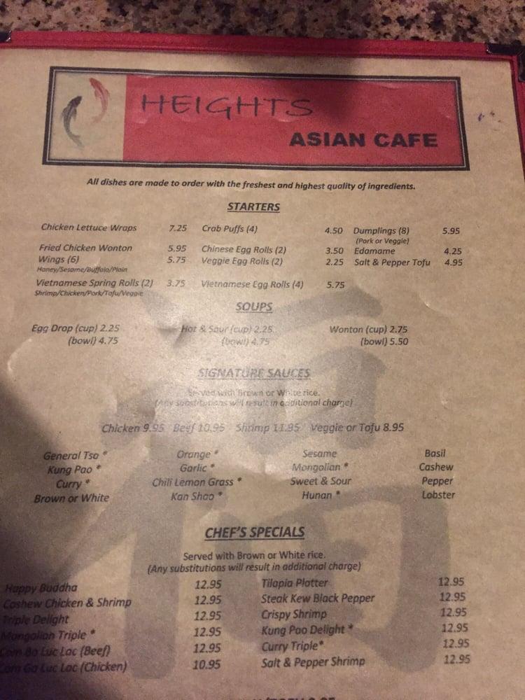 Heights Asian Cafe Houston Menu
