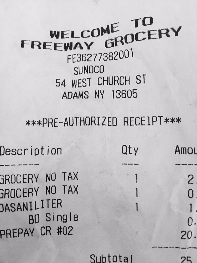 Freeway Grocery: 54 W Church St, Adams, NY