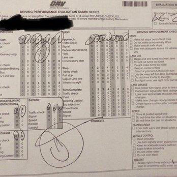 Driving Performance Evaluation Score Sheet - Yelp
