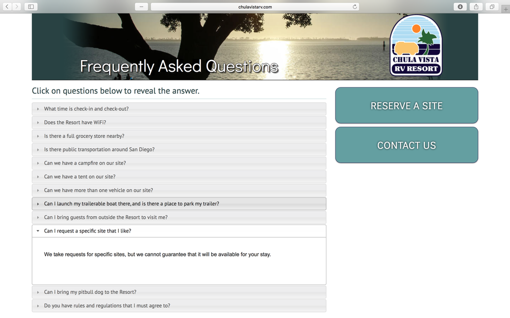 """Chula Vista Rv Resort Special: """"We Take Requests For Specific Sites, But We Cannot"""