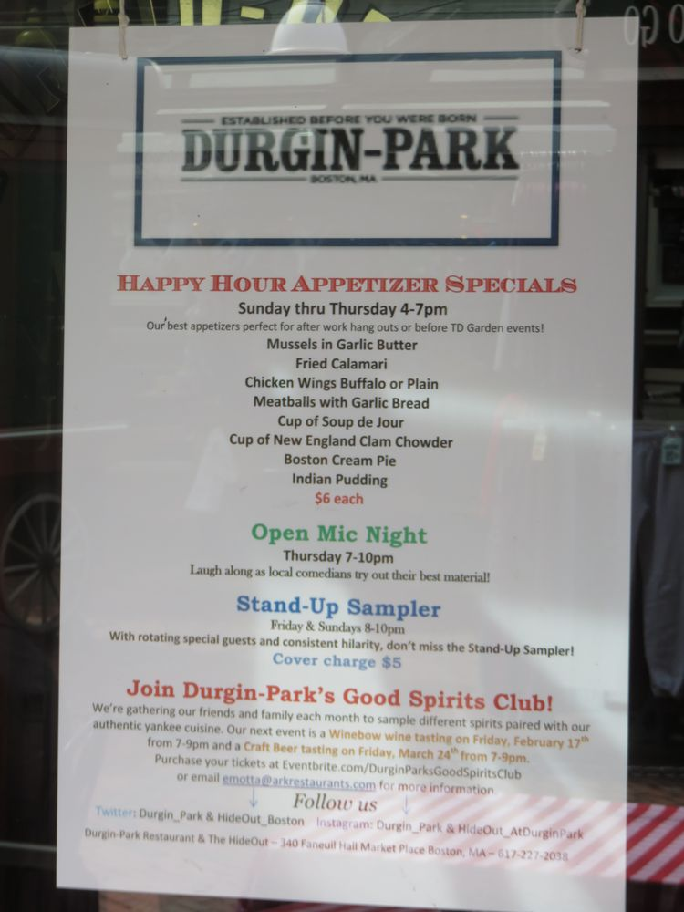 Durgin Park Restaurant Menu