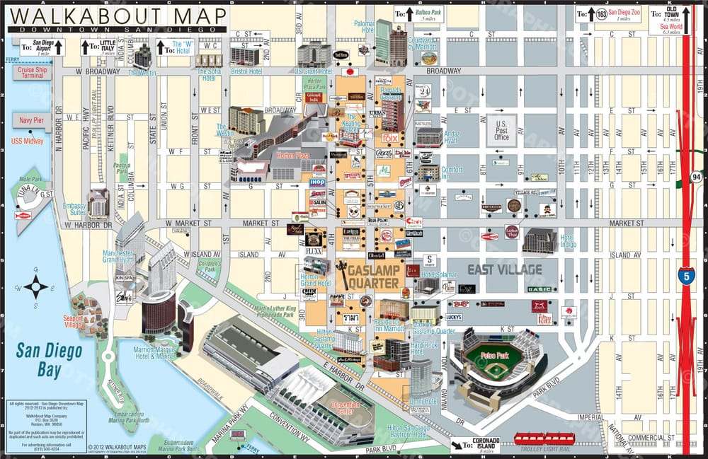 San Diego Gaslamp map for Walkaboutmaps.com - Yelp