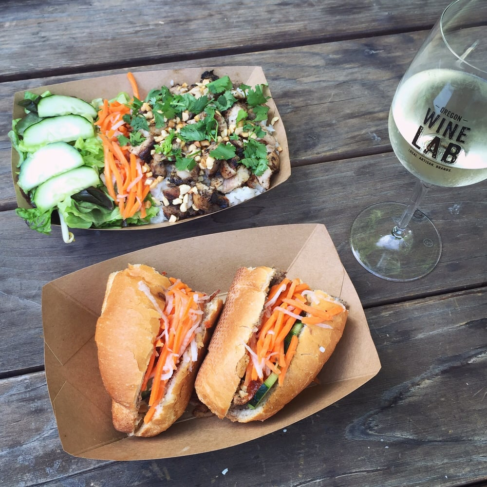 """... Eugene, OR, United States. Steak bánh mì and chicken """"com"""" (rice"""