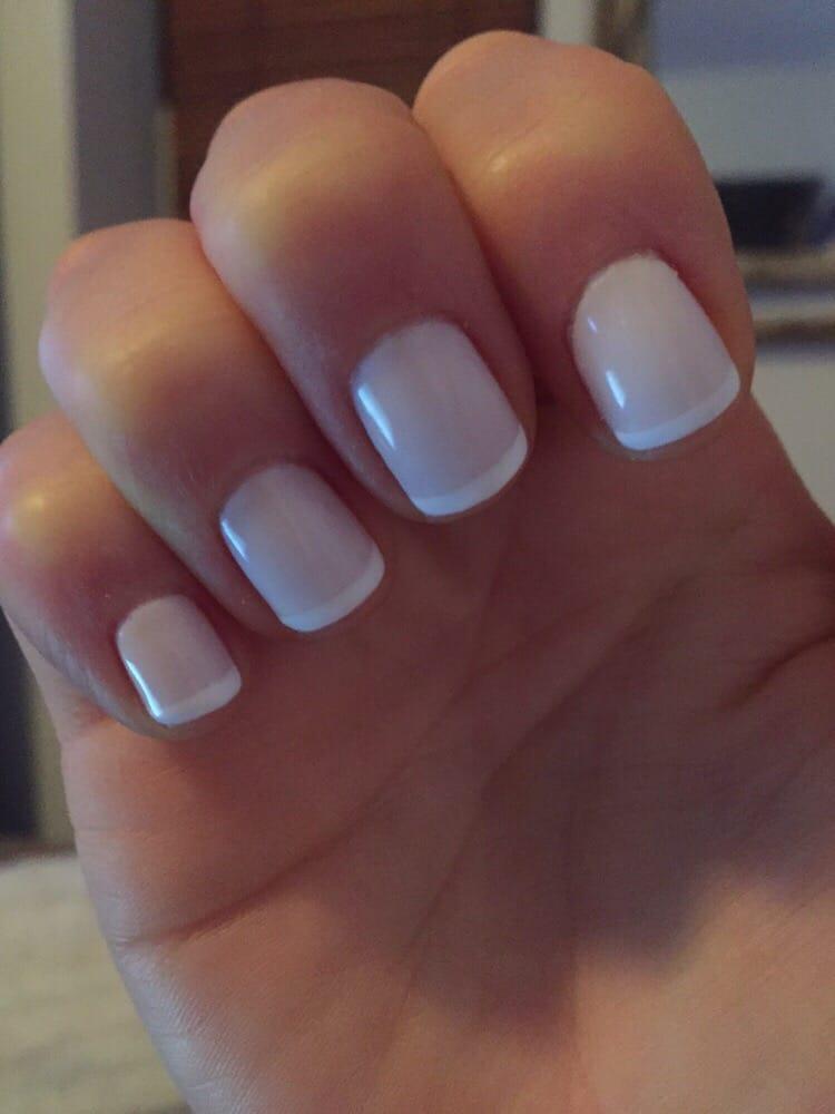 White On White French Manicure With Cnd Shellac Base Coat Studio