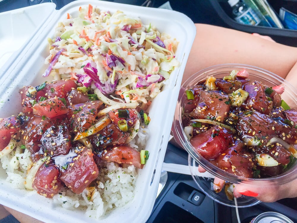Traditional ahi poke w rice and pineapple cole slaw yelp for South maui fish company