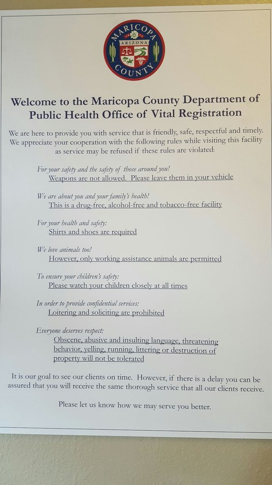 Maricopa County Office of Vital Registration - Public Services ...