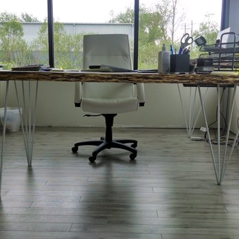 Custom corner desk with live edge Poplar top and pyramid ...